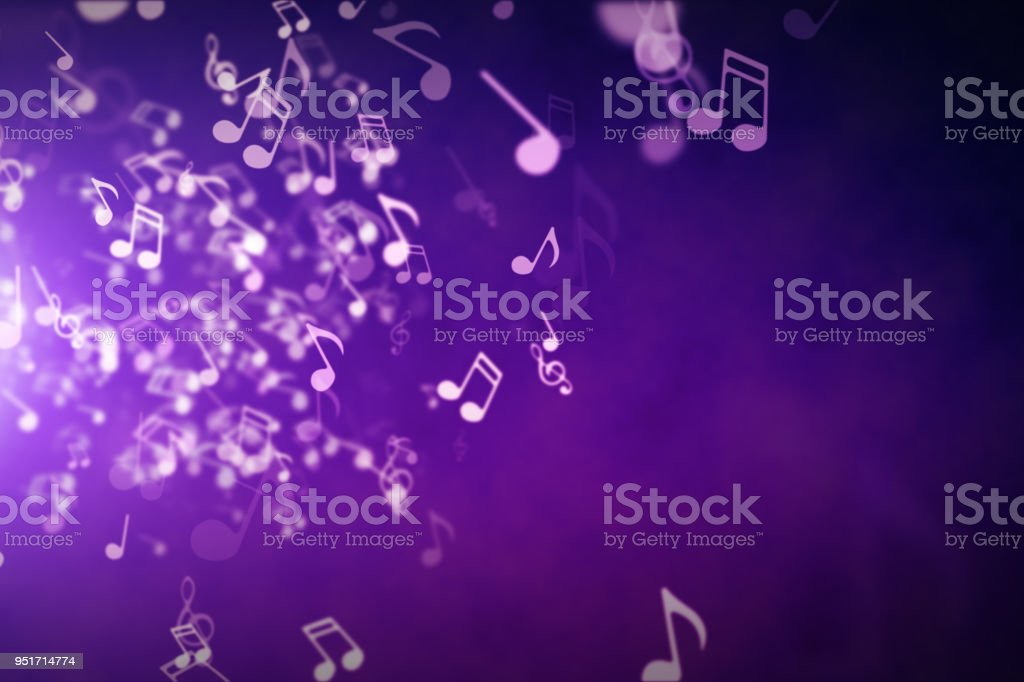 Floating musical notes on an abstract purple background with flares 3d illustration stock photo