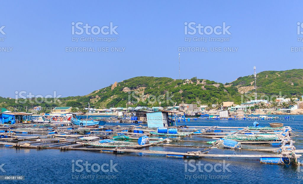 Floating nets of fishs farm in a natural bay stock photo