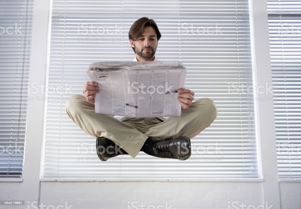 Floating on business cloud 9 stock photo