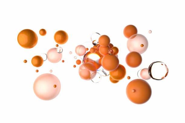 Schwimmende orangefarbene Kugeln auf weißem Hintergrund – Foto