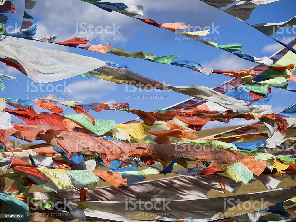Floating Prayer Flags royalty-free stock photo