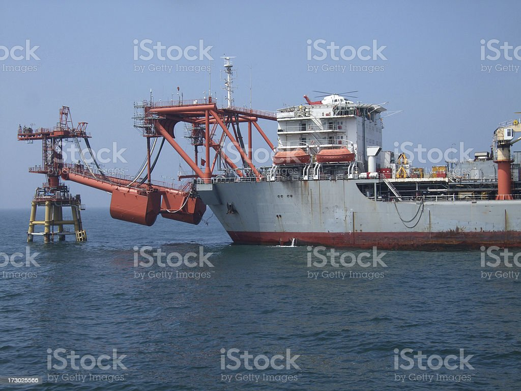 Floating Production Vessel with helicopter royalty-free stock photo