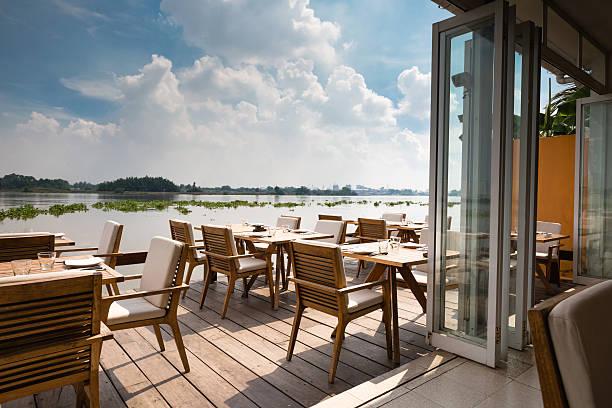 floating restaurant on Saigon River stock photo