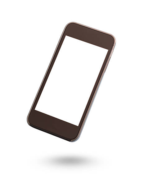 floating smartphone with blank screen isolated on white - on air stock photos and pictures