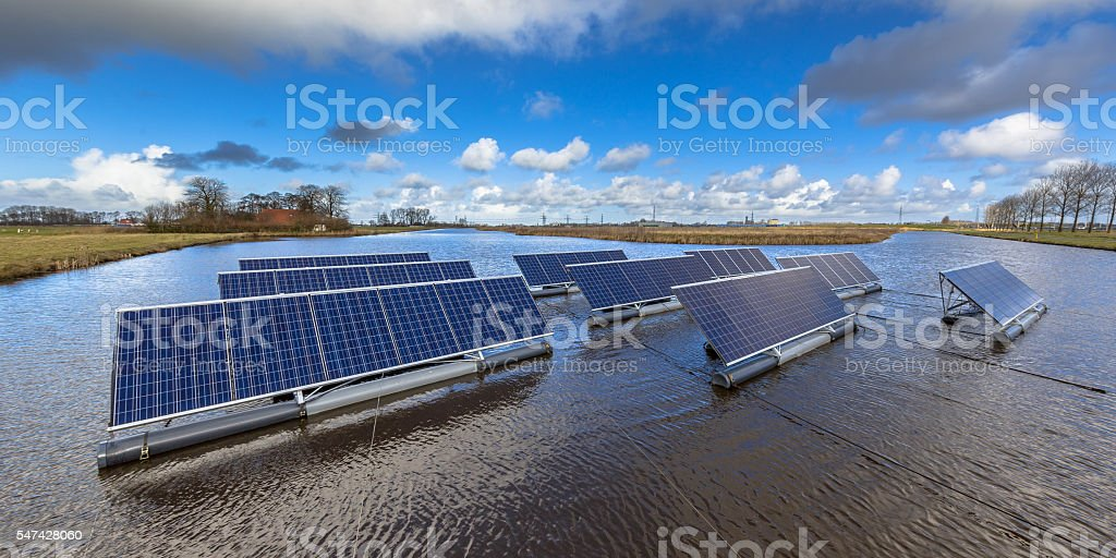 Floating solar farm stock photo