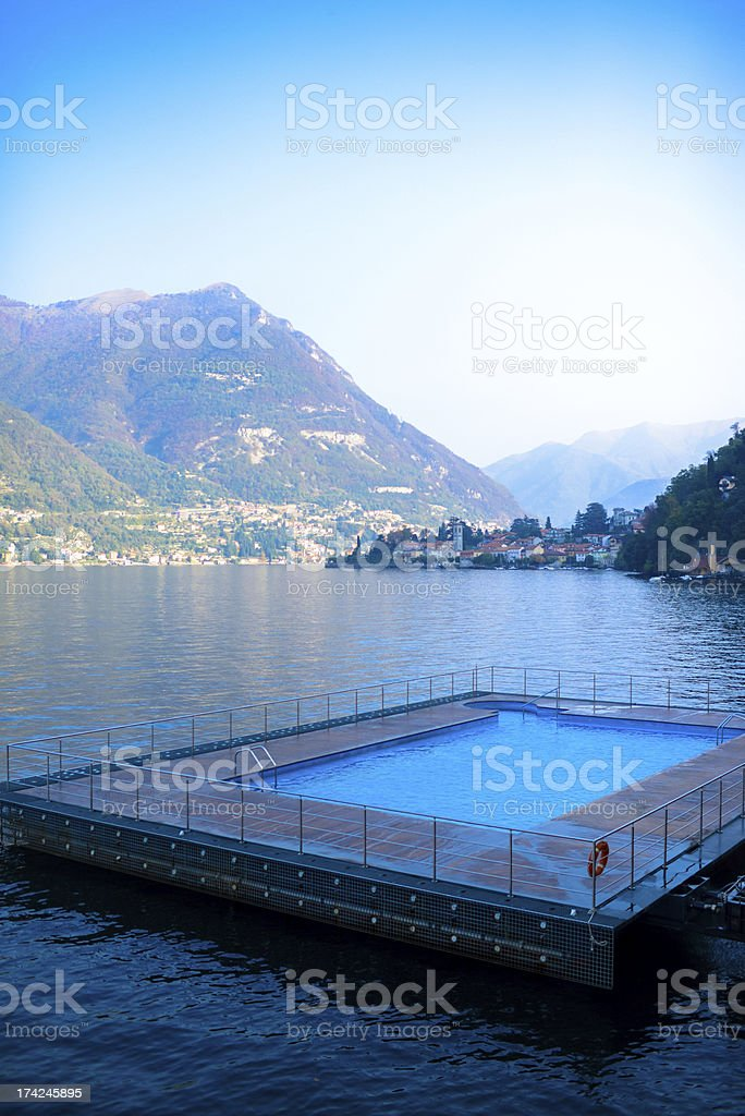 Floating Swimming Pool on Lake Como, Italy royalty-free stock photo