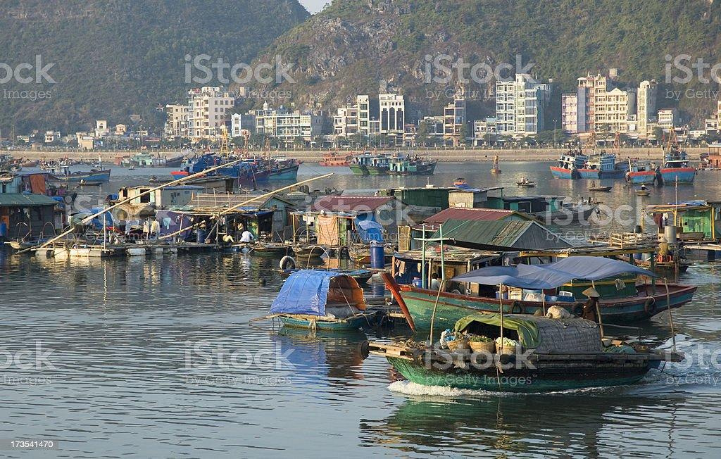 Floating Village Around Cat Ba Island In Halong Bay, Vietnam stock photo