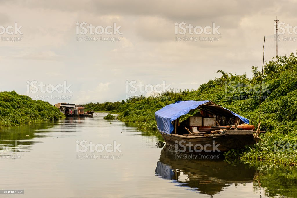 Floating village Chong Knies in Cambodia, Tonle Sap (Great lake) stock photo