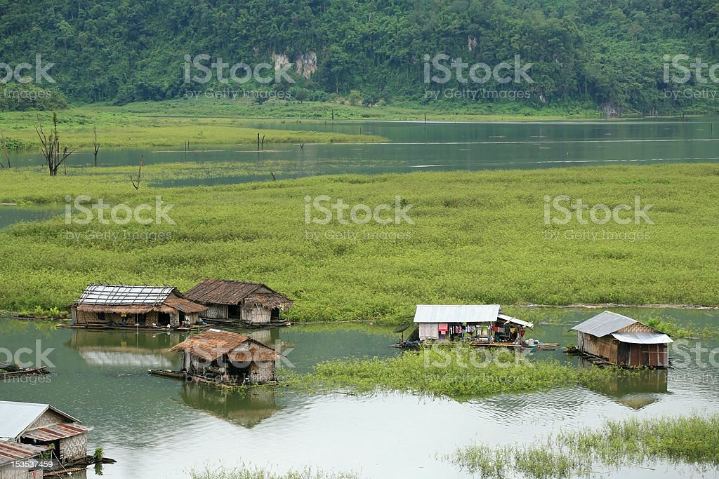 Floating village on the river royalty-free stock photo