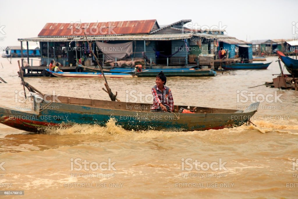 Floating village on Tonle Sap lake in Siem Reap stock photo
