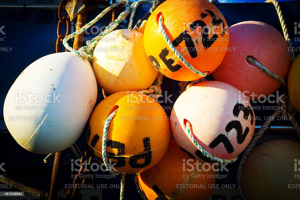 Floats on a working Fishing boat stock photo