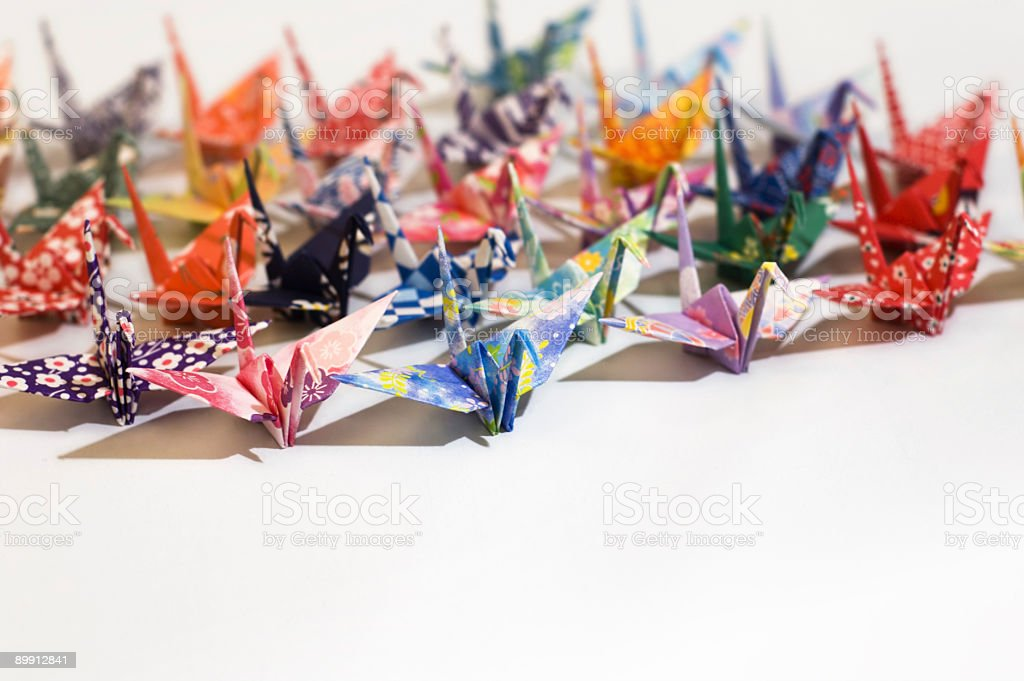 Flock of origami birds royalty-free stock photo