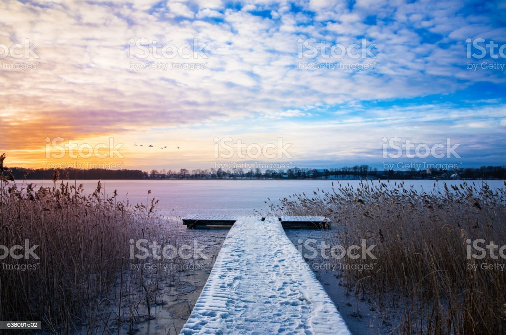 flock of swans fly over frozen Lake Elckie stock photo