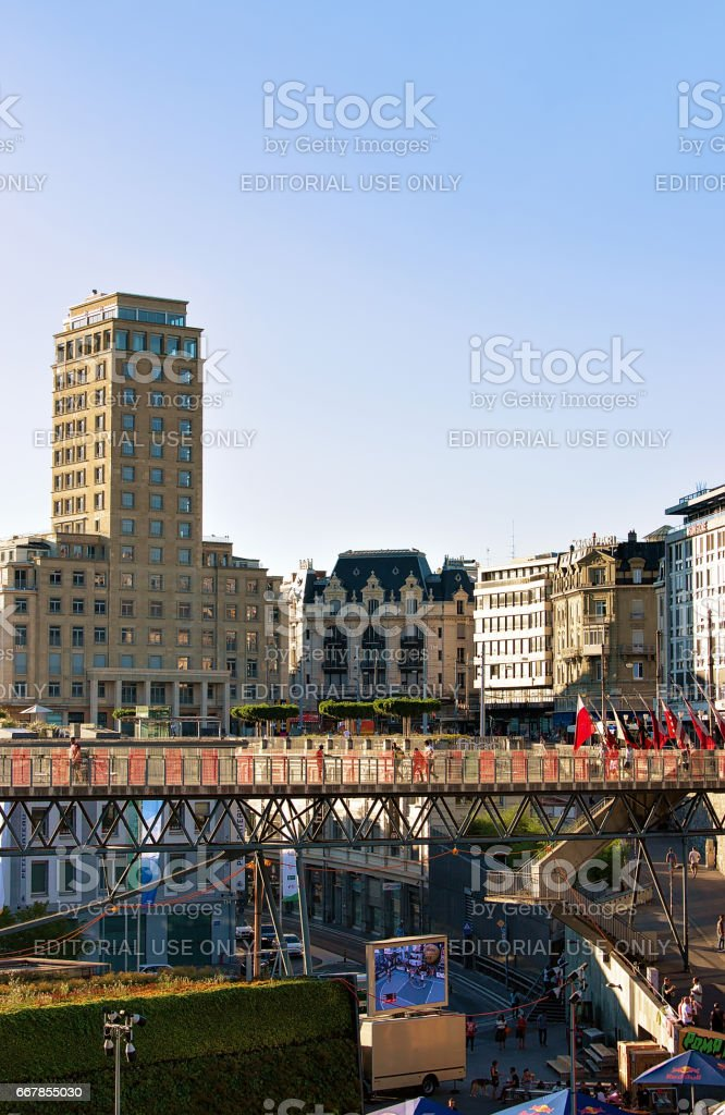 Flon district with Grand pont bridge Bel Air Tower stock photo