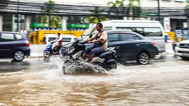 Flood after heavy rain in Sriracha, Chonburi, Thailand - Photo