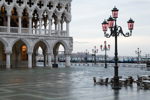 Flood at dawn on St. Mark´s Square in Venice