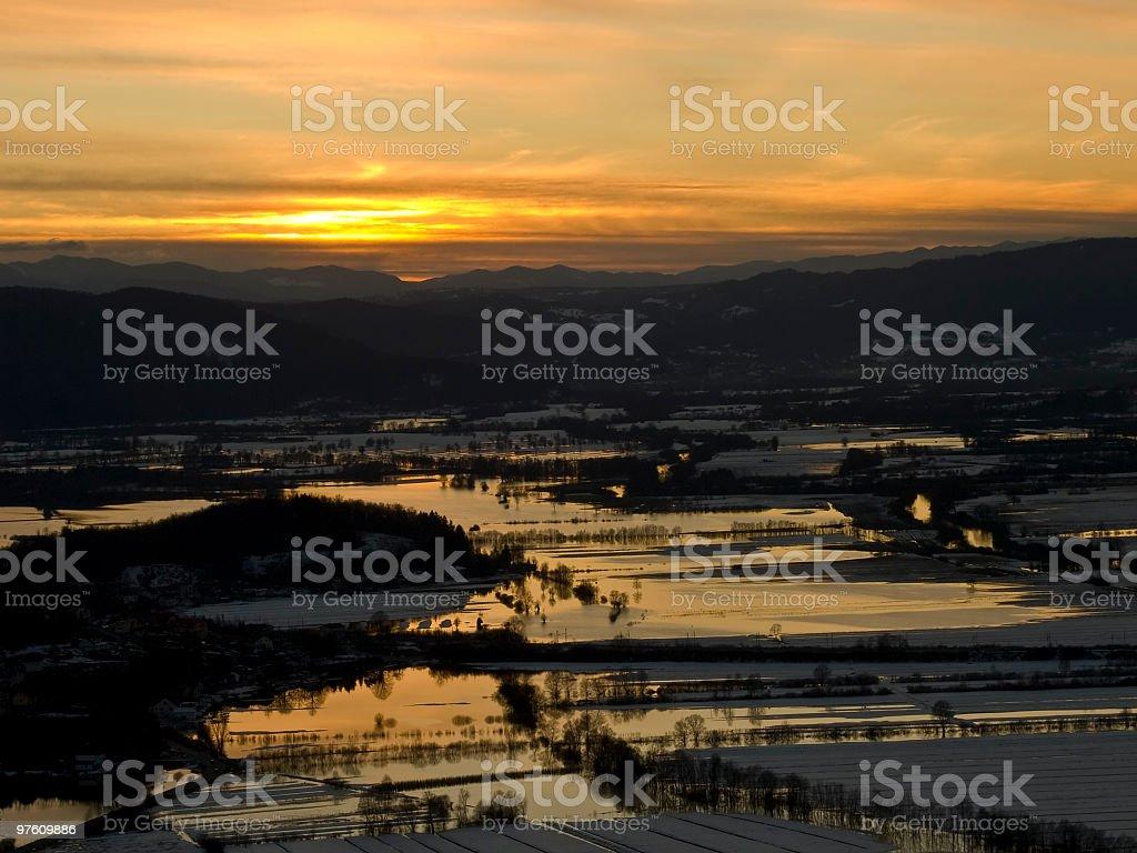 Flood at evening royaltyfri bildbanksbilder