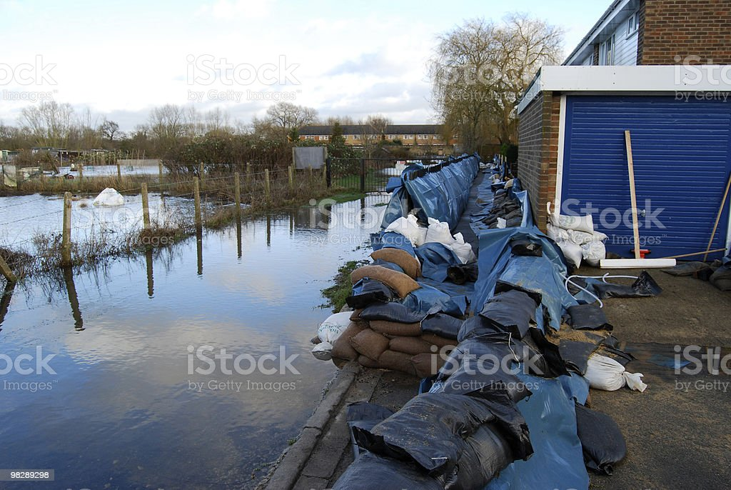 Flood defences in Oxford. England royalty-free stock photo