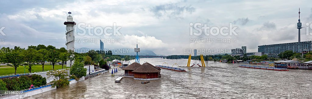 Flood disaster Danube Vienna 2013 royalty-free stock photo