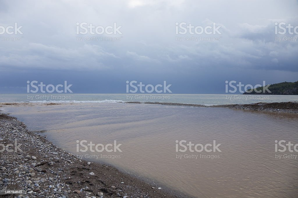 Flood Disaster - Overflowed River Mouth royalty-free stock photo