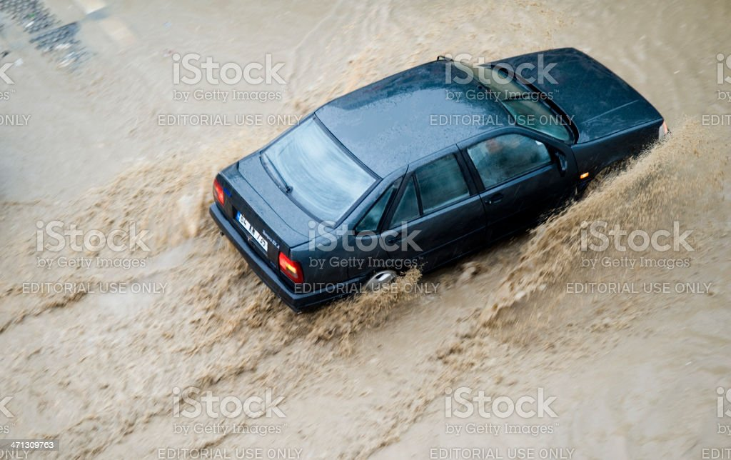 Flood Driving royalty-free stock photo