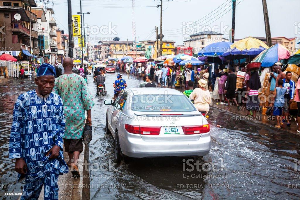 Flood in African City - Lagos, Nigeria stock photo
