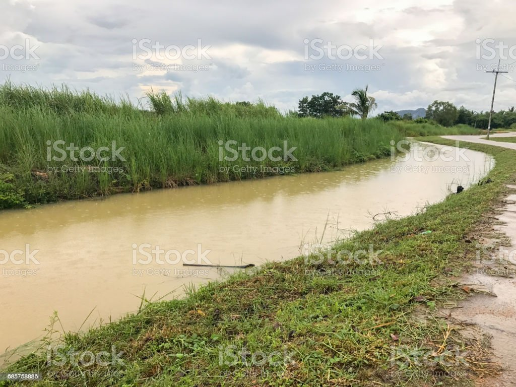 flood in canal stock photo