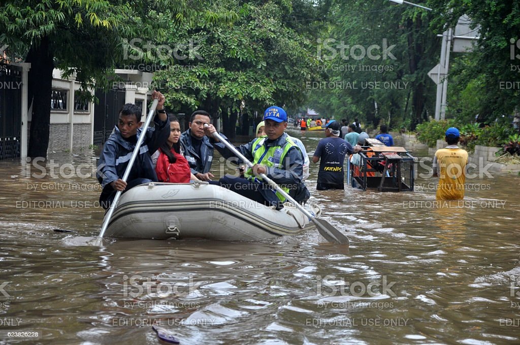 Flood in Jakarta - Indonesia stock photo