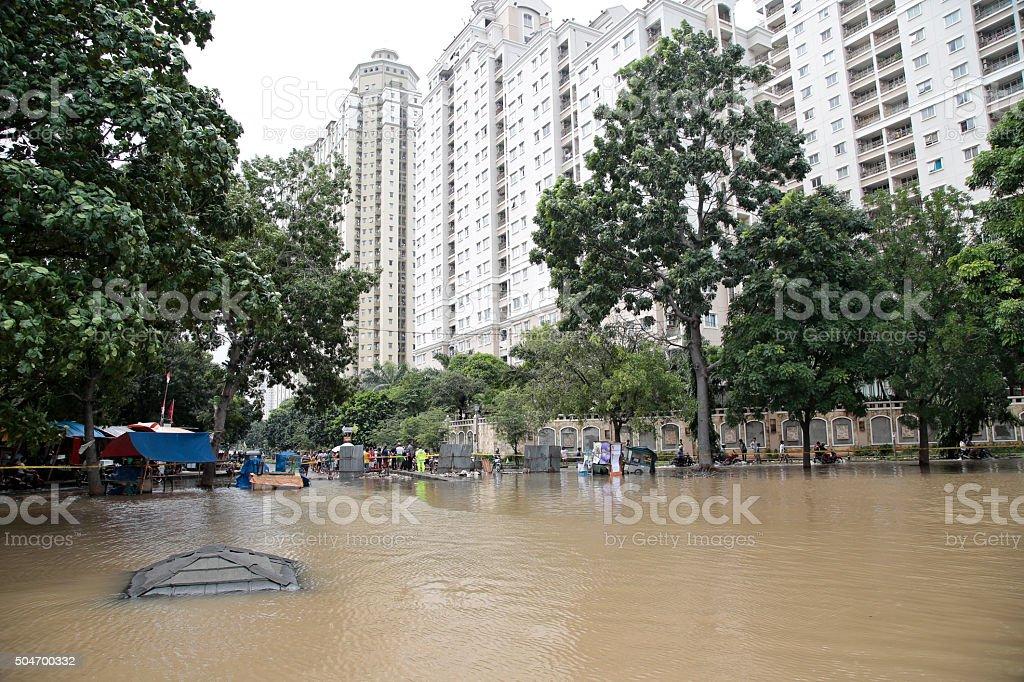 flood in jakarta stock photo
