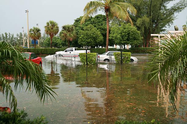 Flood in Miami stock photo