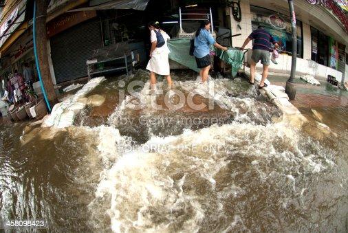 istock Flood like waterfalls on footpath in Bangkok,Thailand.. 458098423