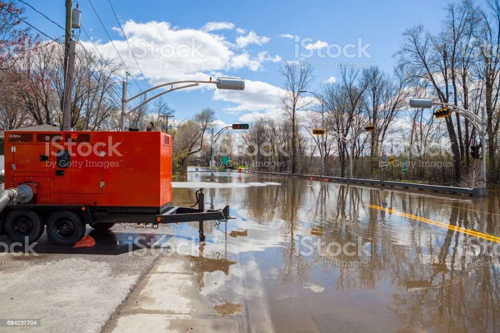 Flood over the road royalty-free stock photo