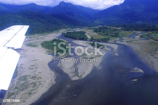 Flood Plain erosion left by Hurricane Mitch in 1998 as seen near La Ceiba Airport Atlantida Honduras and the source of the flood waters which emanated from Pico Bonito National Park