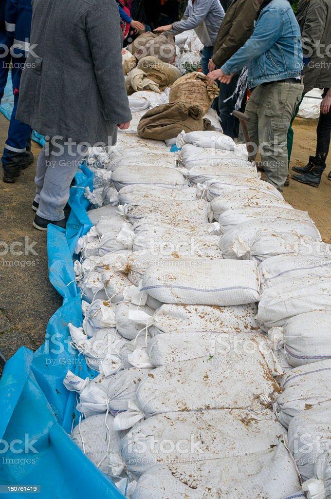 Flood protection with sandbags stock photo