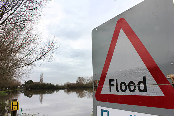 Flood Sign Warning by Flood stock photo