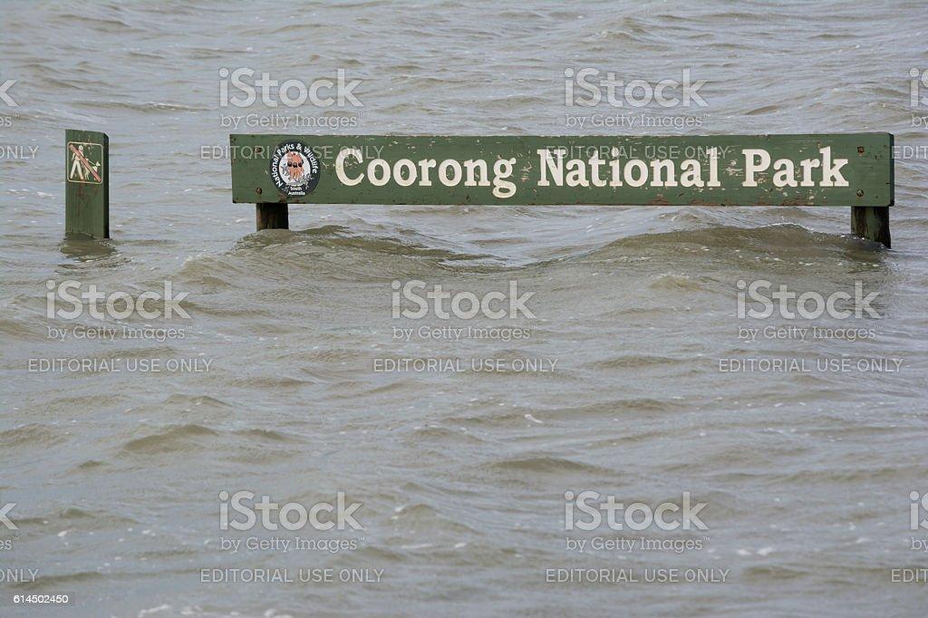 Flood, Submerged Coorong National Park Sign, Hindmarsh Island stock photo