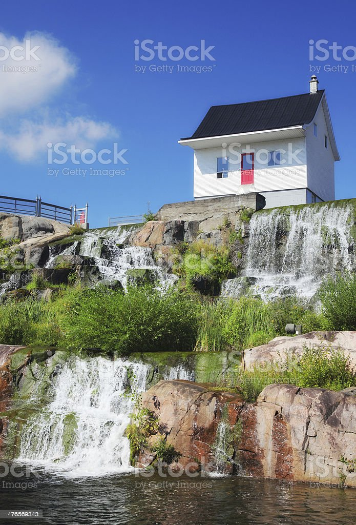 Flood Surviving House in Chicoutimi City stock photo