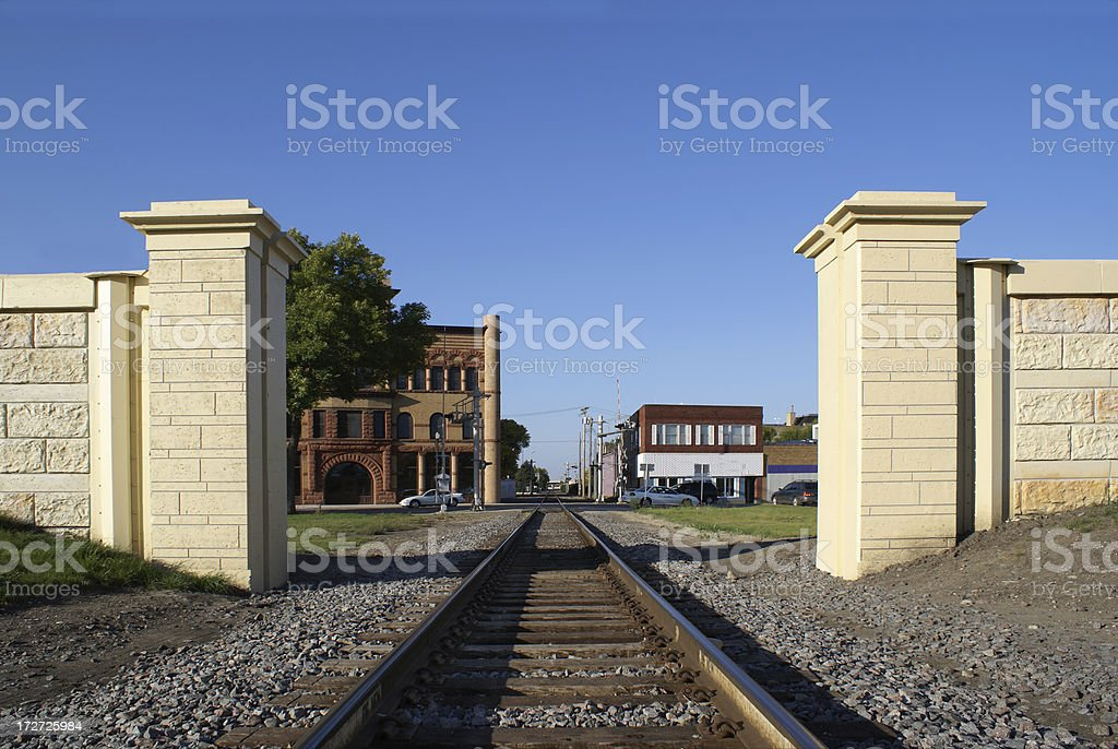flood wall opening for rail traffic royalty-free stock photo