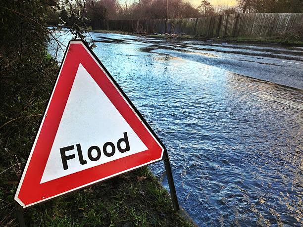 Flood Warning stock photo