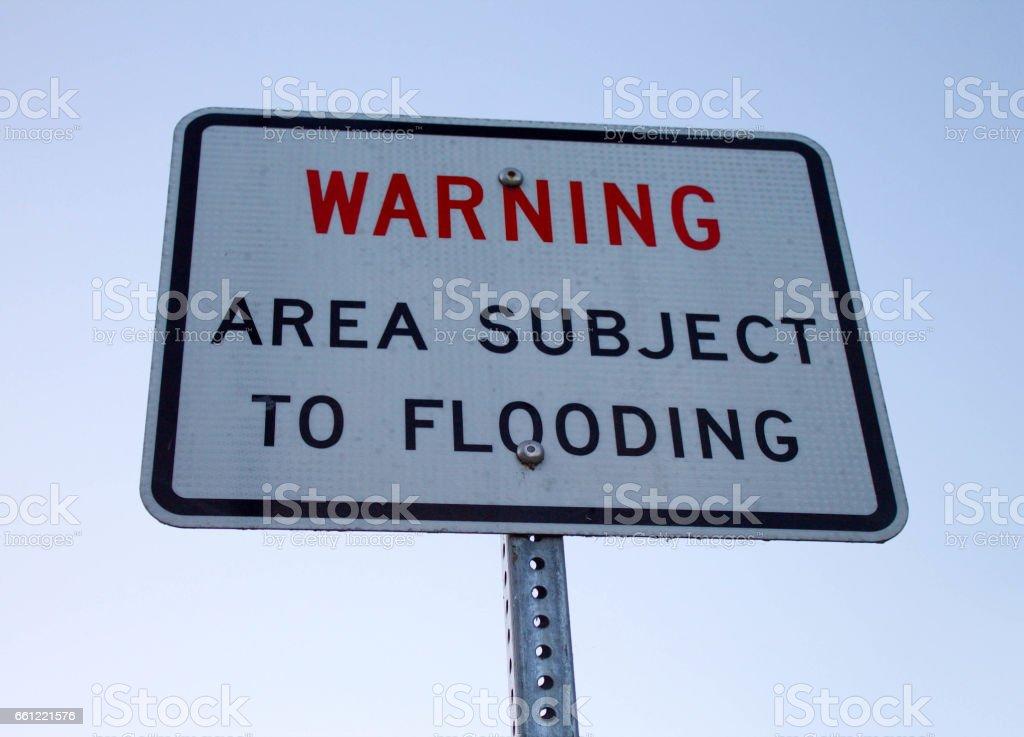 Flood Warning Sign Close Up stock photo