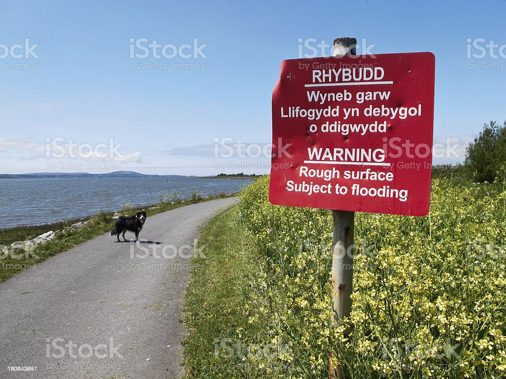 Flood warning sign on coastal path stock photo