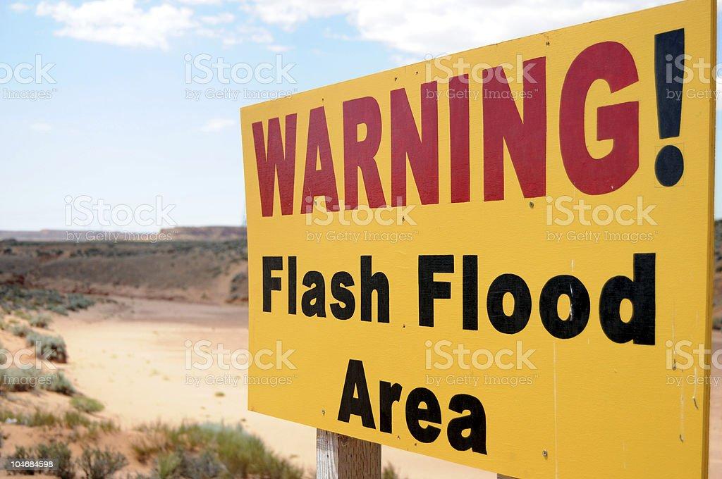Flood warning sign stock photo