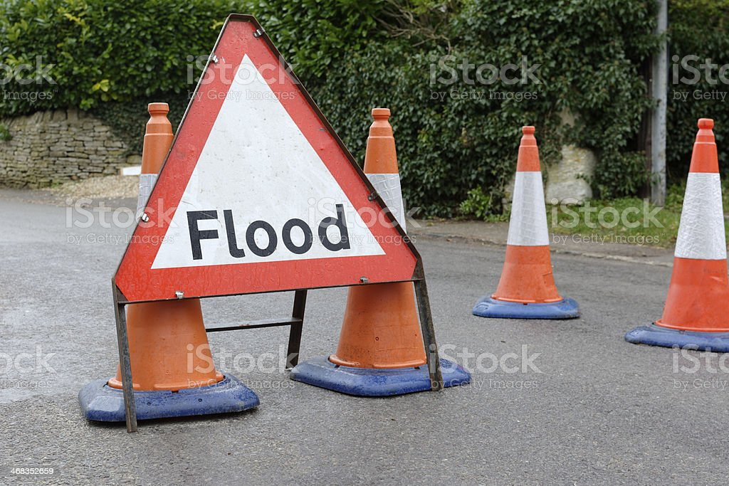 Flood warning sign. royalty-free stock photo