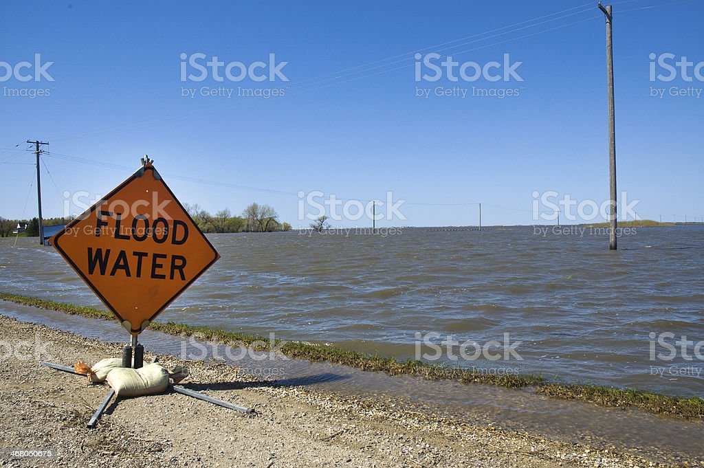 Flood Water - Red River, Manitoba stock photo