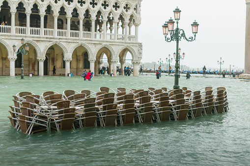 Flooded at Piazza San Marco in central Venice not an unusual sight