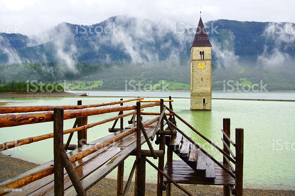Flooded bell tower. royalty-free stock photo