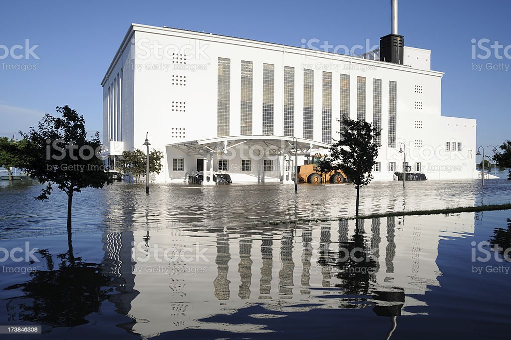 Flooded Building royalty-free stock photo