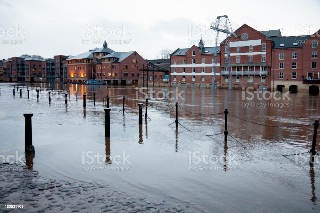 Flooded buildings stock photo