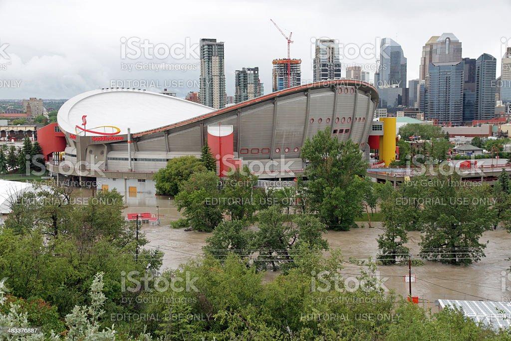 Flooded Calgary Saddledome stock photo