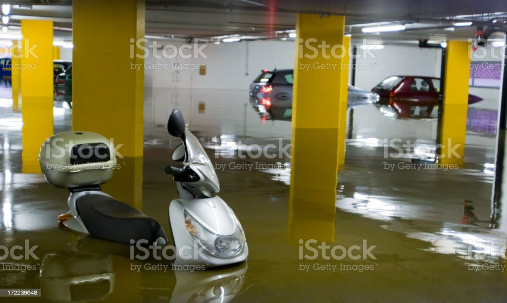 Flooded Carpark royalty-free stock photo